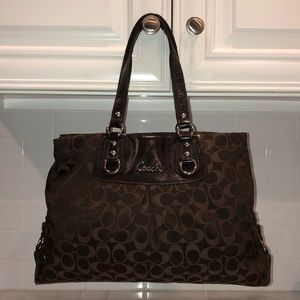 """Coach Ashley Signature """"C"""" Brown Sateen Carry-All"""